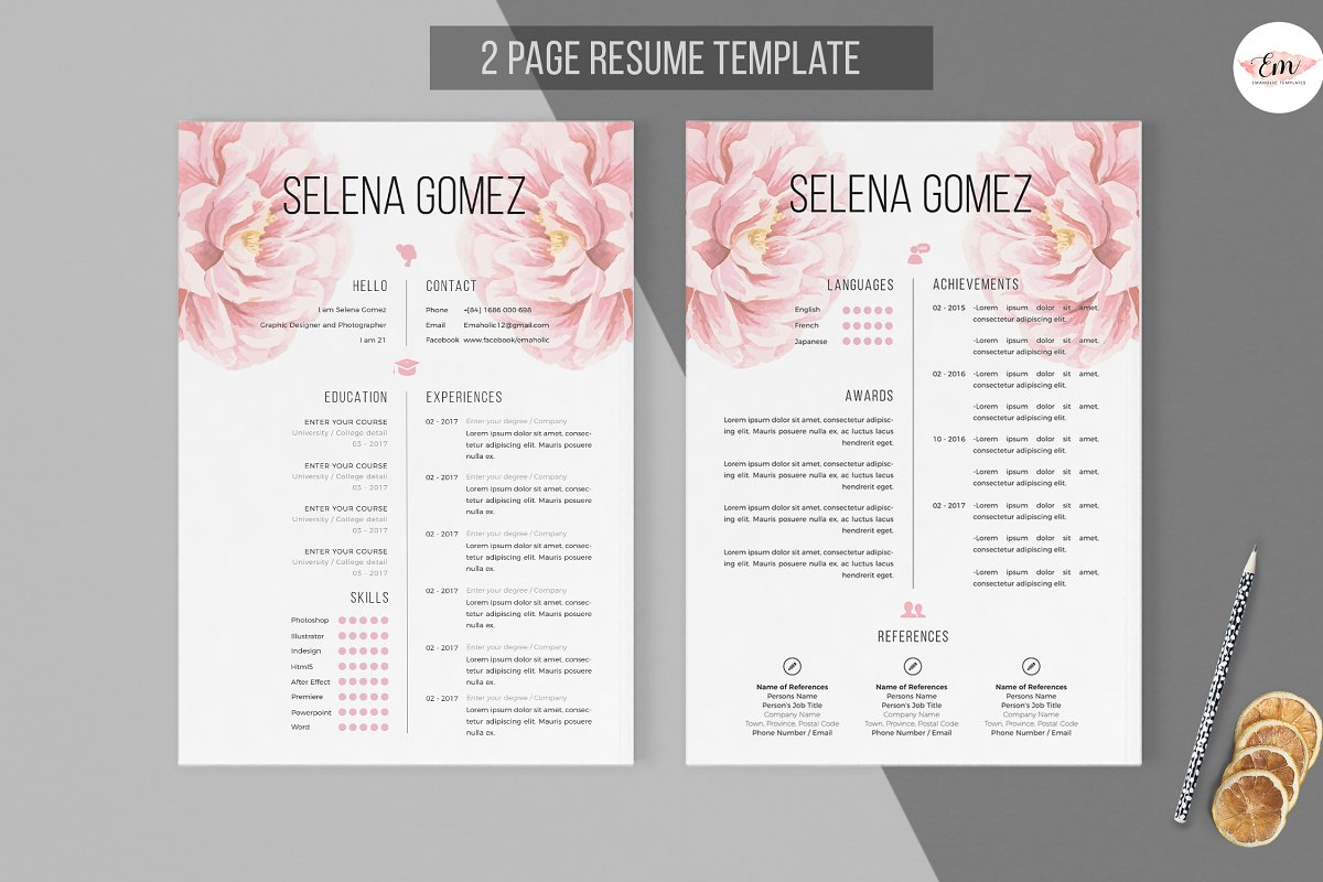 Elegant Floral 2 Pages Resume Templates Creative Market