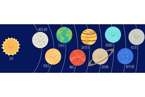 Cute smiling cartoon characters of planets of solar system. Childish background