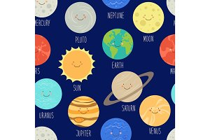 Cute seamless pattern with smiling cartoon characters of planets of solar system. Childish background