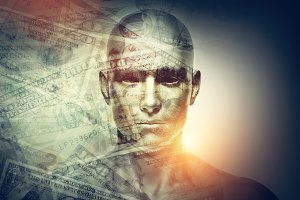 Human man face and dollars double exposure.