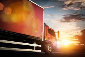 Truck speeding on the highway. Transportation