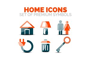 Set of home equipment and elements icons