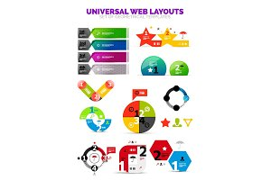 Set of paper graphics - infographic or web box