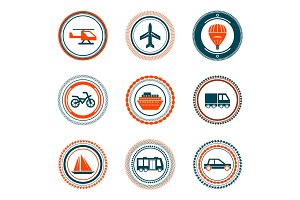 Set of vector vintage transportation stamps icons