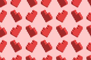 Pixelated red hearts on pink pattern