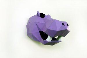DIY Hippo Trophy - 3d papercrafts