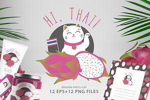 Thailand Dragon Fruit & Cat set