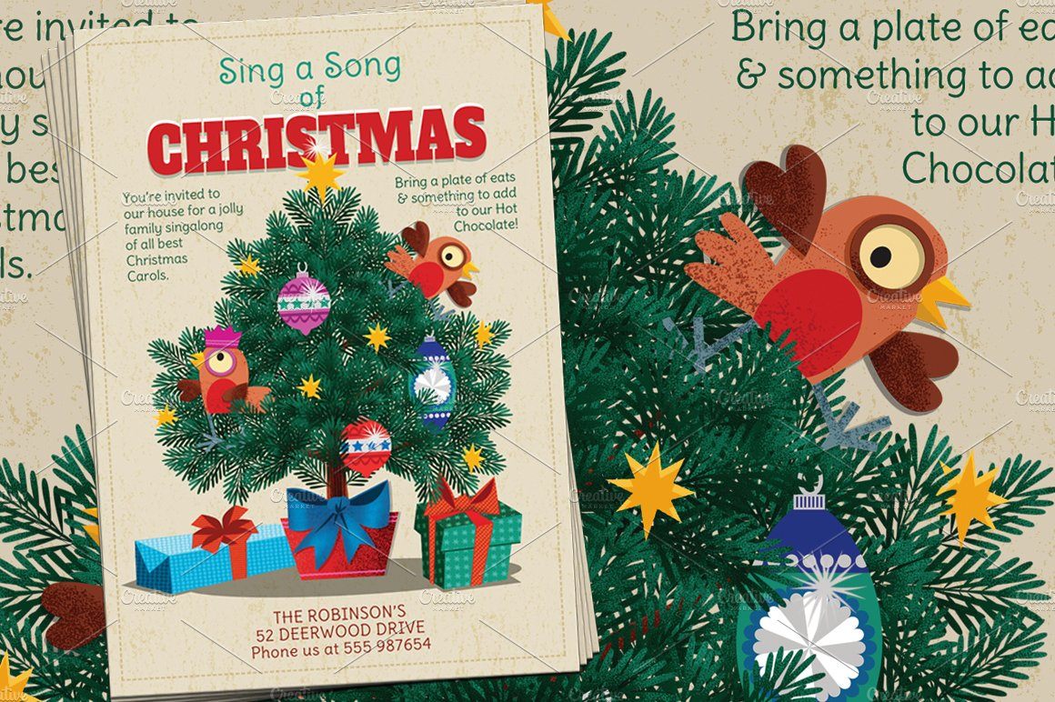 Christmas Carols Sing a Long Flyer ~ Flyer Templates ~ Creative Market