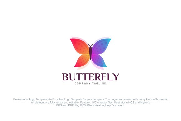 Butterfly logo template logo templates creative market flashek Images