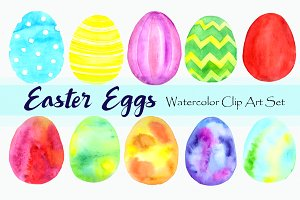 Watercolor Easter Eggs Clip Art Set