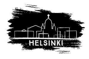 Helsinki Skyline Silhouette.