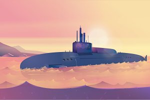 Submarine ,Vector Illustration