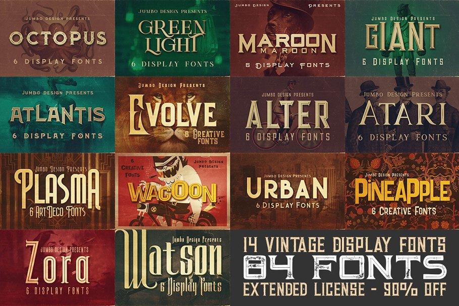 14 Vintage Display Fonts 84 Fonts Stunning Display Fonts Creative Market