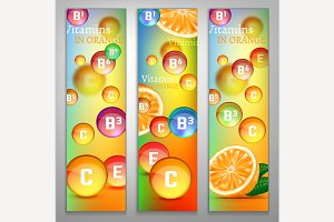 Vitamins In Orange Banners