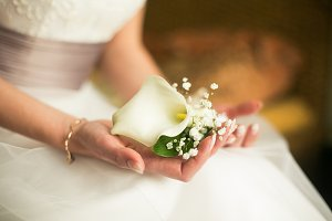 Bride holds boutonniere in hands