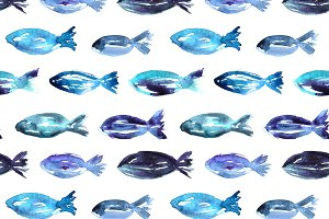 Watercolor fish pattern
