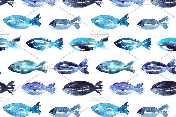 Watercolor Fish Pattern Graphic Patterns Creative Market New Fish Patterns
