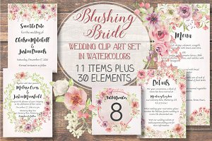 Wedding clip art set: Blushing Bride