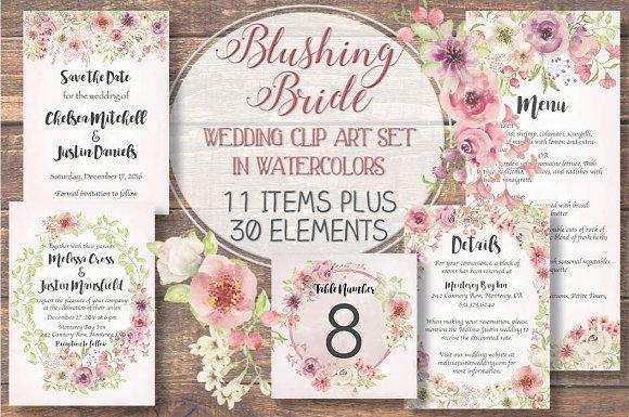Wedding Clip Art Set Blushing Bride