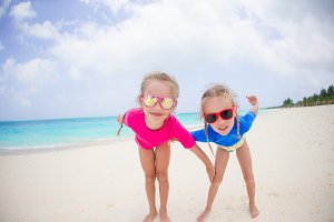 Portrait of girls having fun at tropical beach