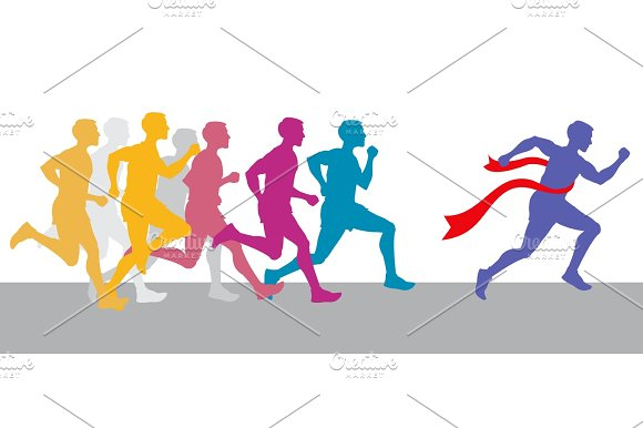 Racing People And Winning Runner Marathon Competition Vector Concept