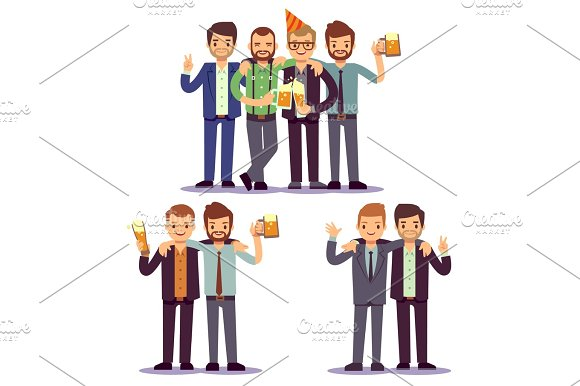 Happy Friends Business People At Party Vector Friendly Concept