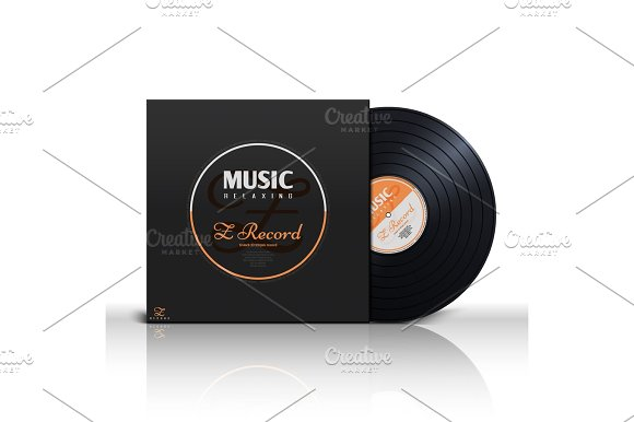 Retro Stereo Audio Black Vinyl Disc And Album Paper Sleeve Cover Vector Mockup