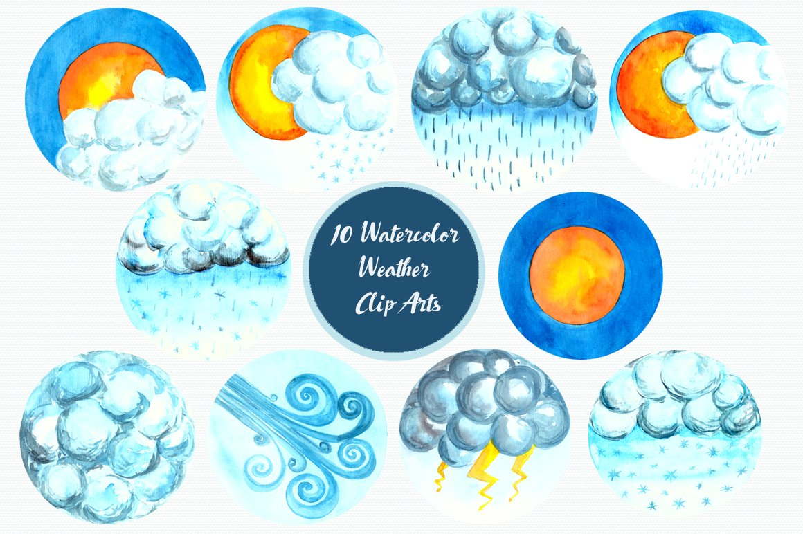 Watercolor Weather Forecast Clip Art ~ Graphic Objects ...