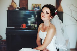 Gorgeous bride with shining skin