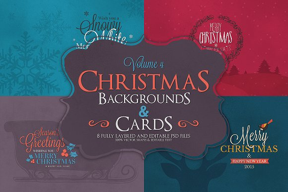 Christmas Background & Cards Vol.4 - Cards