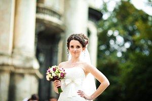 Curly brunette bride