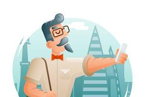 Geek Mobile Phone Selfie