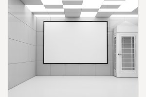 Poster mockup in modern interior