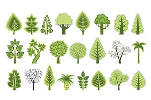 flat silhouettes of trees