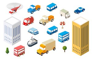 Set 3D auto cars city