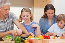 Lovely family cooking