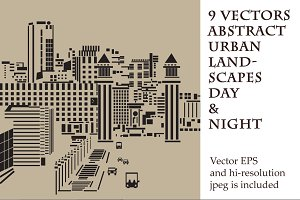 9 vectors abstract urban landscapes
