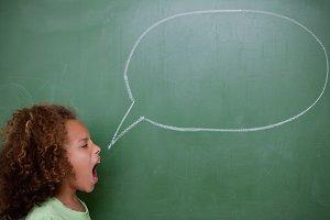 Schoolgirl screaming a speech bubble