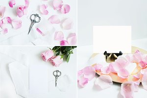 Pink Rose Stationery Mockup Bundle