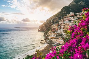 View of Positano, Italy.