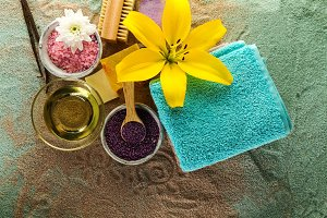 Spa Products on Sand. Spa Concept