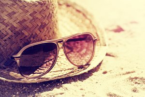 Summer or Travel Concept. Sunglasses
