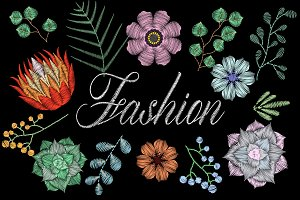 Fashion embroidery. Succulent flower