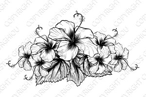 Hibiscus Flowers Vintage Woodcut