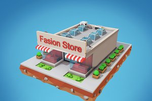 Low Poly Fashion Store Building