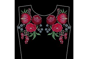 Embroidery fashion neckline with spring flowers, roses, protea.