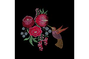 Fashion embroidery patch with hummingbird, spring flowers, roses