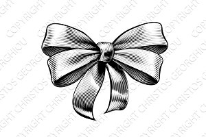 Ribbon Gift Bow Vintage Etching