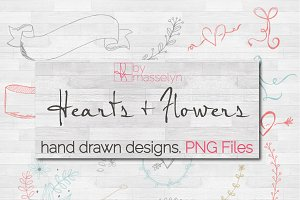 Hearts Flowers & More Sketches - PNG