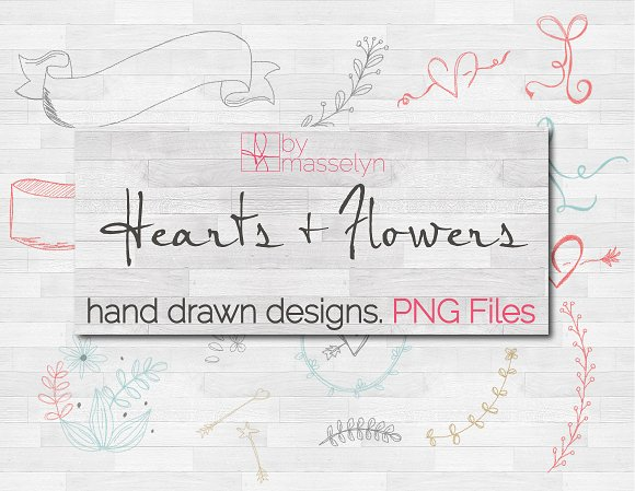 Hearts Flowers More Sketches PNG